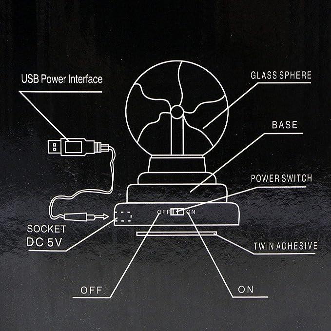 Amazon.com: RioRand - Bola de plasma con alimentación por ...