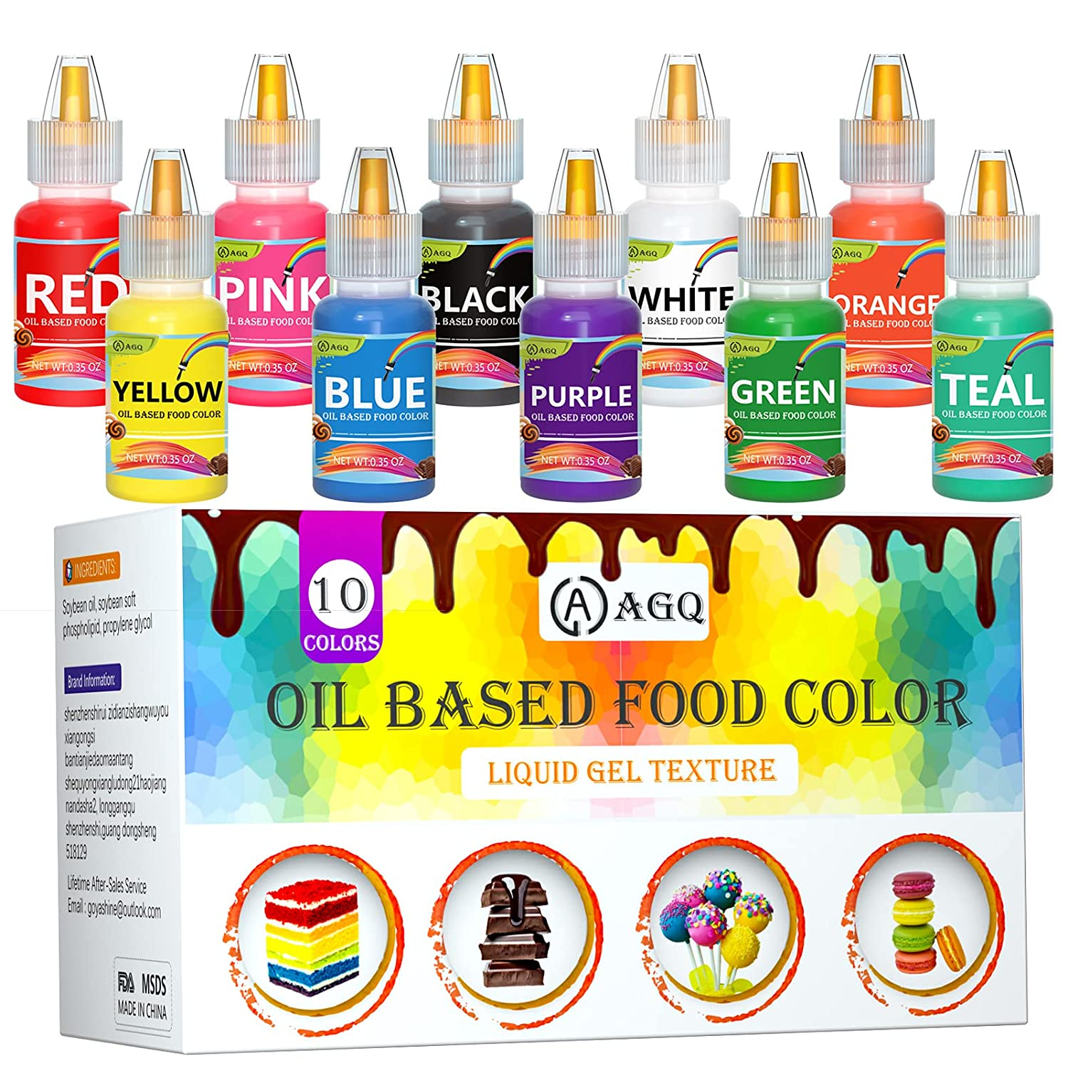 Oil Based Food Coloring for Chocolate - AGQ Oil Food Color Set for Sugar Candy Melts, 10 Colors Edible Food Dye Paint Kit for Baking Icing Cookies Cake Decorating Fondant Cupcake (.35 Fl. Oz Bottles)