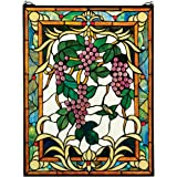 Design Toscano Stained Glass Panel - The Grape Vineyard Stained Glass Window Hangings - Window Treatments