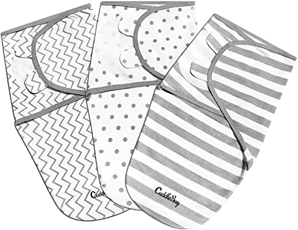 SWADDLE SET Gray and White Reversible Stripes and Dots Stretchy Knit