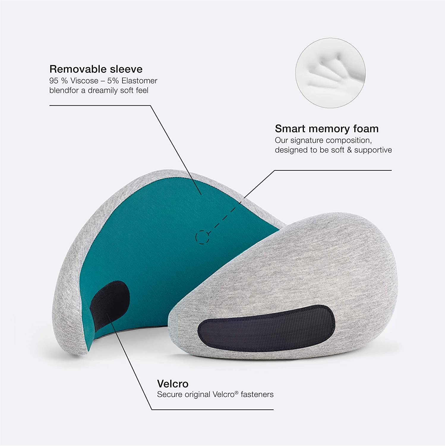 Power Nap OSTRICH PILLOW GO Travel Pillow with Memory Foam for Airplanes Color Grey OPGV02U Neck Support for Flying Travel Accessories for Women and Men Car