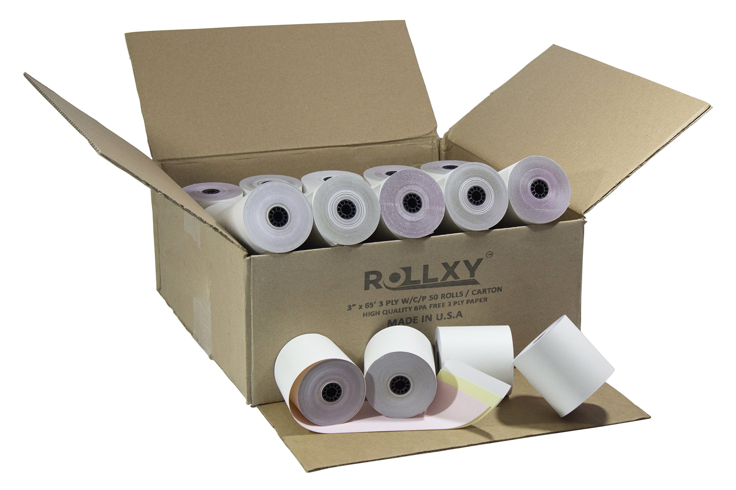 Pospaperroll 3'' X 65' 3-ply Carbonless White/canary/pink Roll Paper 50 Rolls Compatible Item Numbers: 3409, 115-146, Zc3070wcp, 18-333, 300ncrwcp, 07638, 7384, 4012, 9077-0060