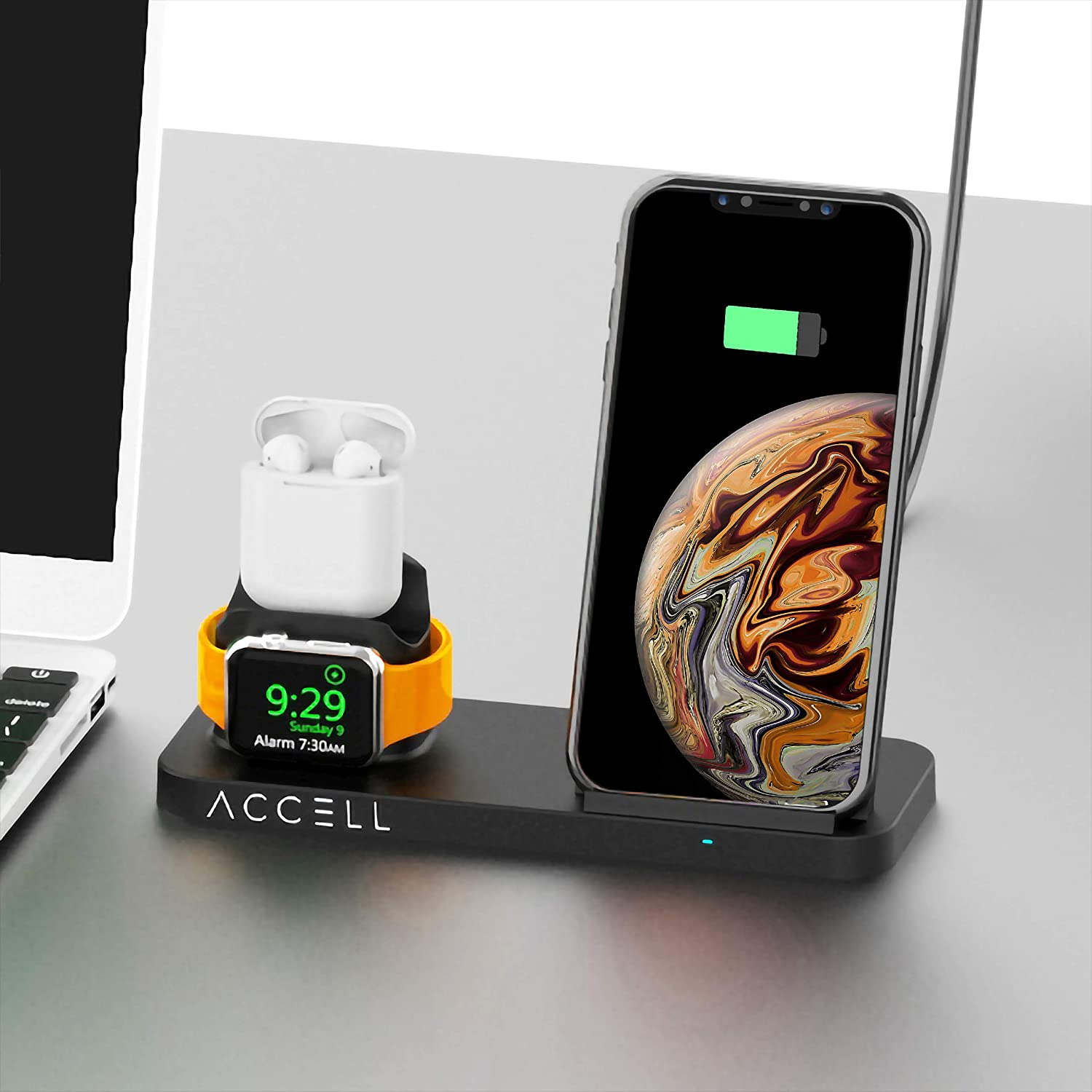Accell Power 3-in-1 Fast-Wireless Charger - 3 in 1 Wireless Charger for Smartphone, Apple Watch, and Airpods - Qi-Compatible, Black