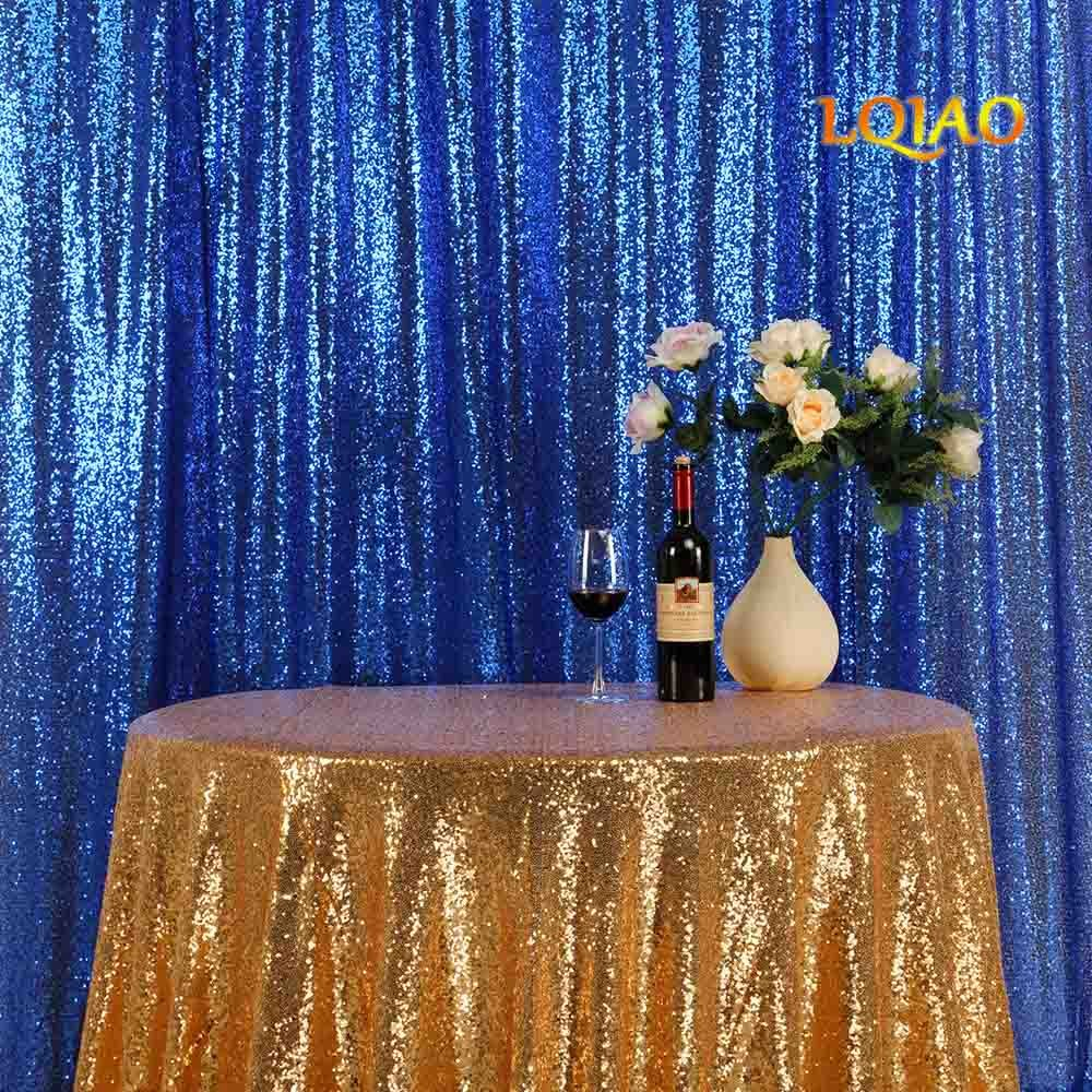 LQIAO Embroidered Sequin Fabric Backdrop Curtain 10FTx10FT Royal Blue Modern Window Drapes Sequin Curtain for living room/photo booth backdrop
