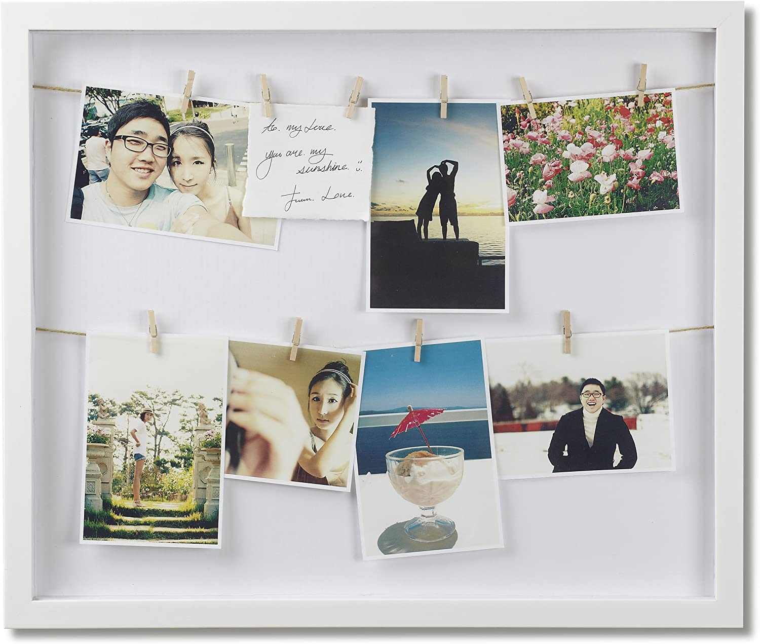 Multi Picture Photo Frame Wooden Clothes Line Box Style Pegs Holder Frames Gift