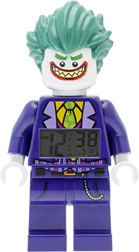 Lego Batman 9009341 The Joker Kids Minifigure Alarm Clock Purple Green Plastic 9.5 inches Tall LCD Display boy Girl Official