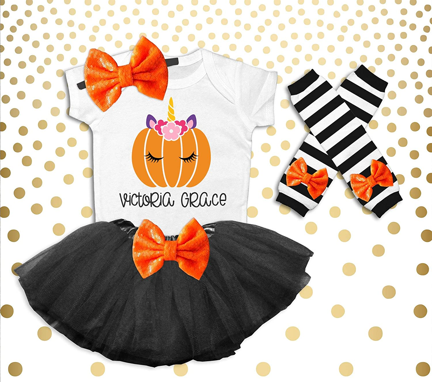 Girl's Halloween Outfit Girl's Halloween Costume Halloween Pumpkin Shirt Halloween Pumpkin Patch Outfit Toddler Girls Pumpkin Unicorn