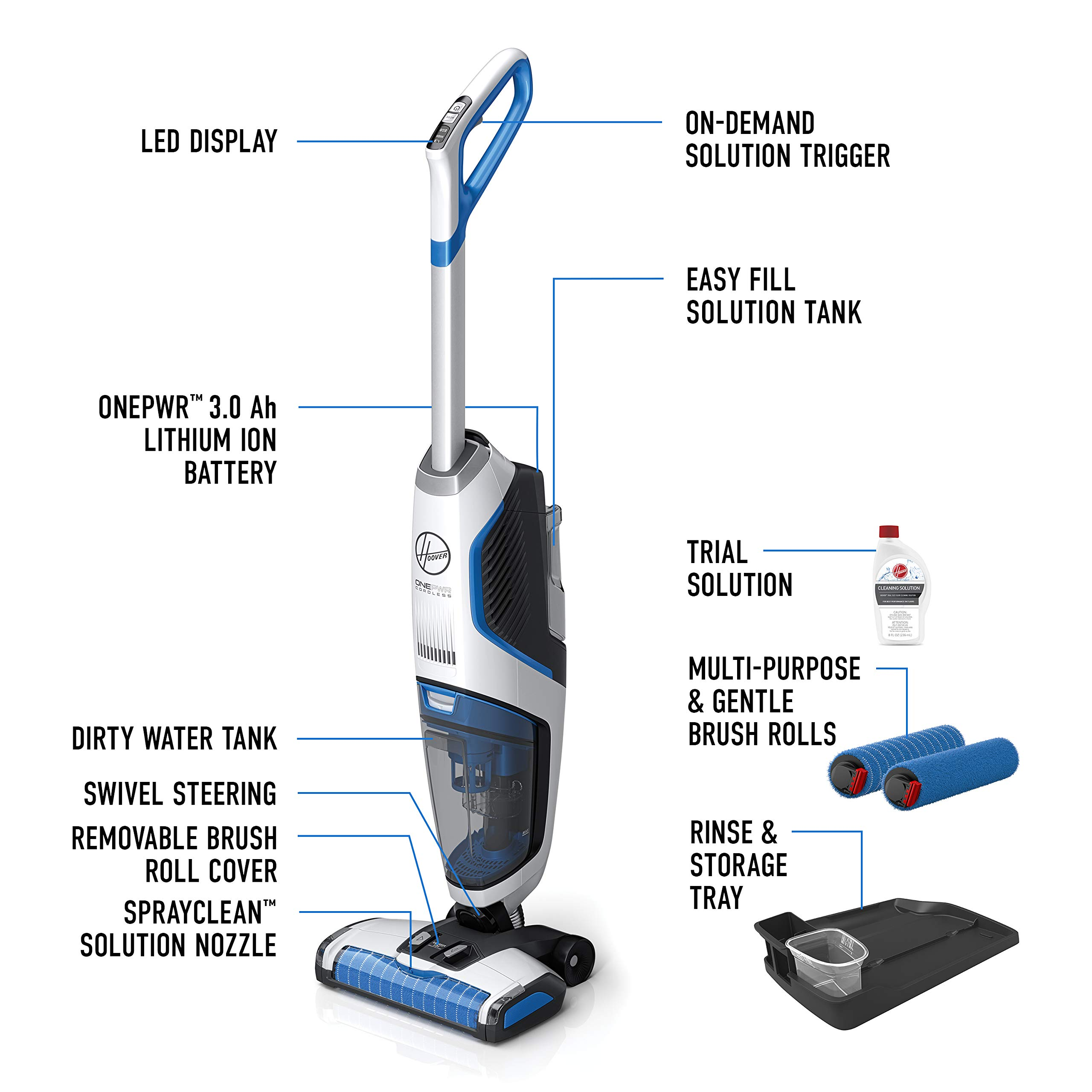 Hoover ONEPWR Cordless FloorMate Jet Hard Floor Cleaner, Wet Vacuum, BH55210, White by Hoover (Image #5)