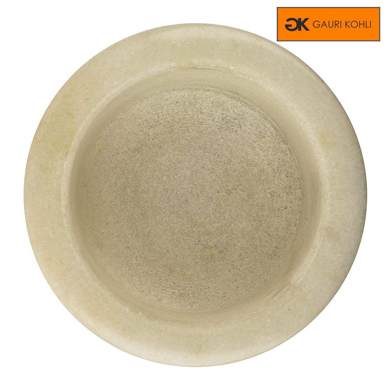 GAURI KOHLI Beautiful White Marble Mortar /& Pestle Set Size 2