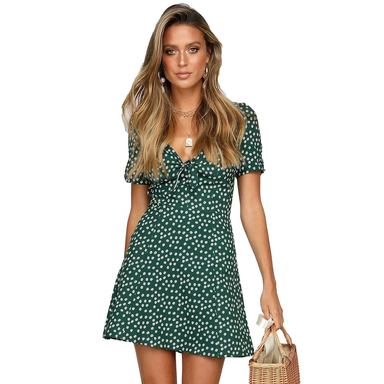 543dc4d086b72 Nantersan Women's Summer Dresses Tie Knot Polka Dot Pattern Boho Mini  Floral Beach Sundress