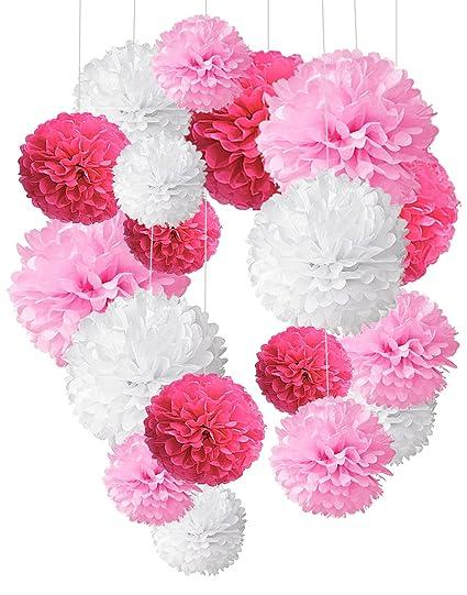 Pompon de papel de seda, bolas de papel en forma de flor para fiestas de