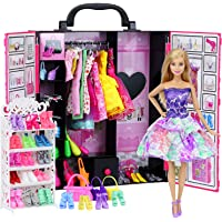 Ecore Fun Fashion Doll Closet Wardrobe for Doll Clothes and Accessories Storage - Lot 52 Items Include Clothes, Dresses, Shoes, Bags, Necklace, Shoes Rack, Hangers for 11.5 Inch Girl Doll Clothes