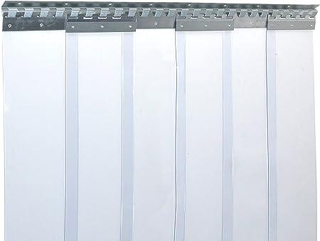 protecci/ón contra salpicaduras resistente a la intemperie rieles de montaje galvanizados completamente premontada transparente Cortina de fleje de PVC Cortina el/ástica industrial de 2x200 mm