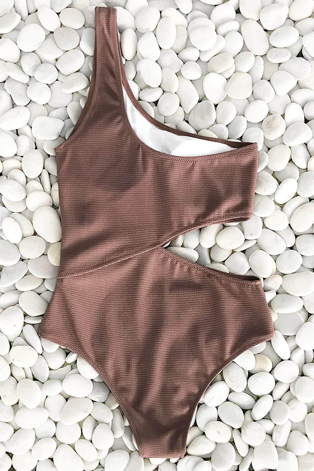 CUPSHE Womens Candy Rain One Shoulder One Piece Swimsuit Bathing Suit