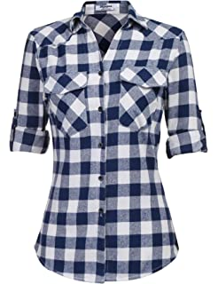 4ff68920b08606 Zeagoo Womens Flannels Long/Roll Up Sleeve Plaid Shirts Cotton Check  Gingham Top S-