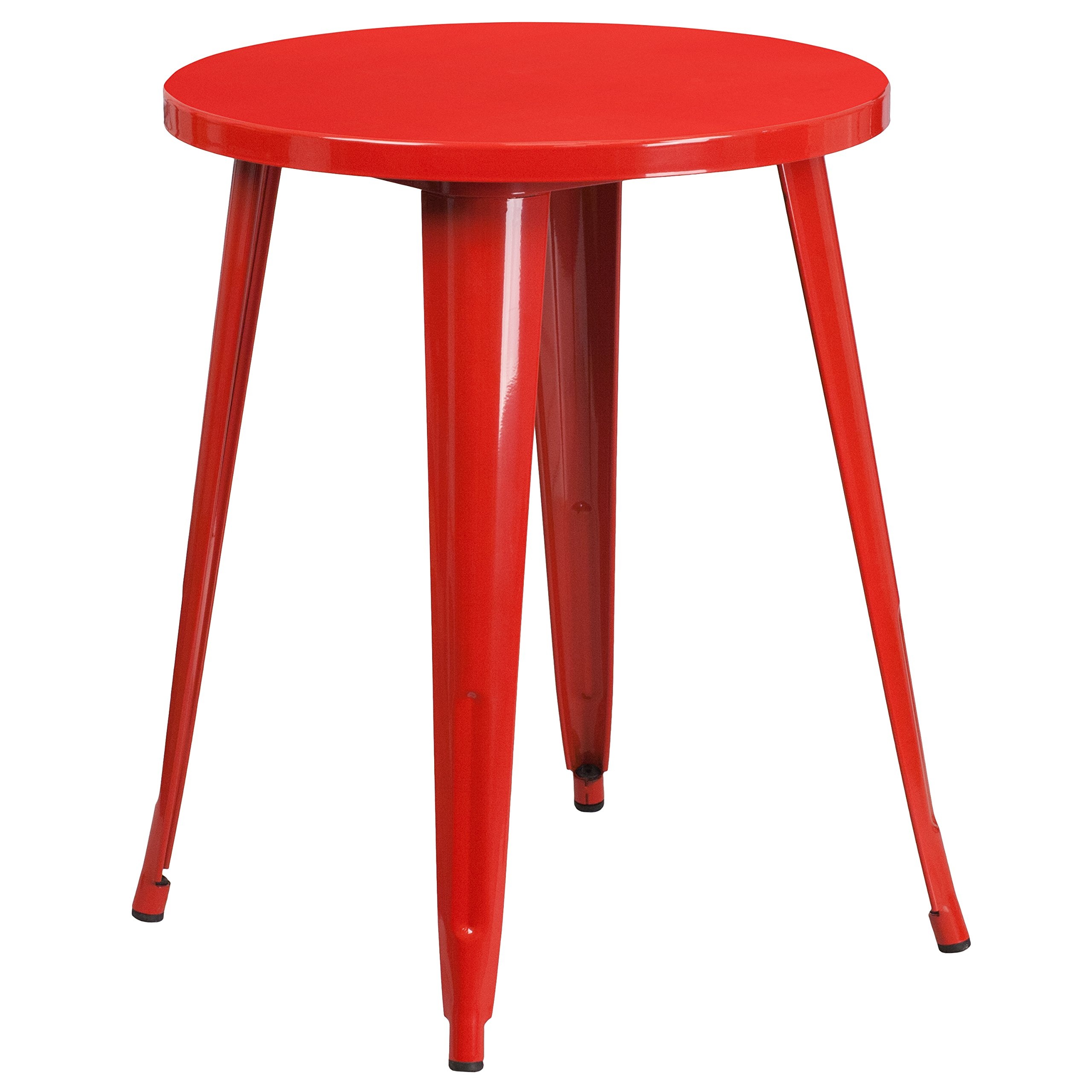 Flash Furniture 24'' Round Red Metal Indoor-Outdoor Table by Flash Furniture