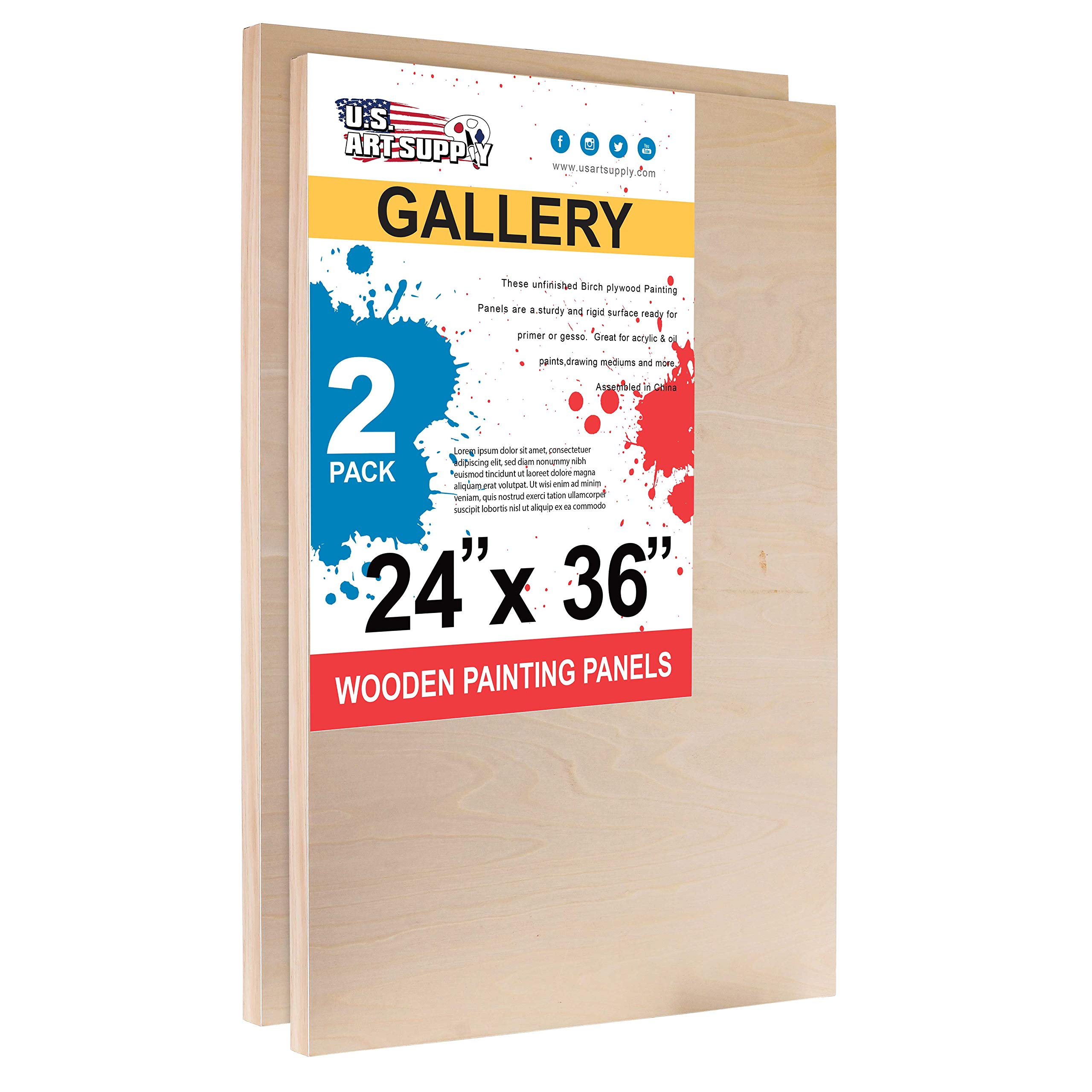 U.S. Art Supply 24'' x 36'' Birch Wood Paint Pouring Panel Boards, Gallery 1-1/2'' Deep Cradle (Pack of 2) - Artist Depth Wooden Wall Canvases - Painting Mixed-Media Craft, Acrylic, Oil, Encaustic by U.S. Art Supply