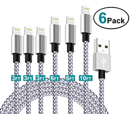 2019 Latest Charger Cord, Compatible Phone Charging Cable, 6 Pack 10FT 6FT 6FT 3FT 3FT 3FT, Nylon Braided USB Phone Charger Cord