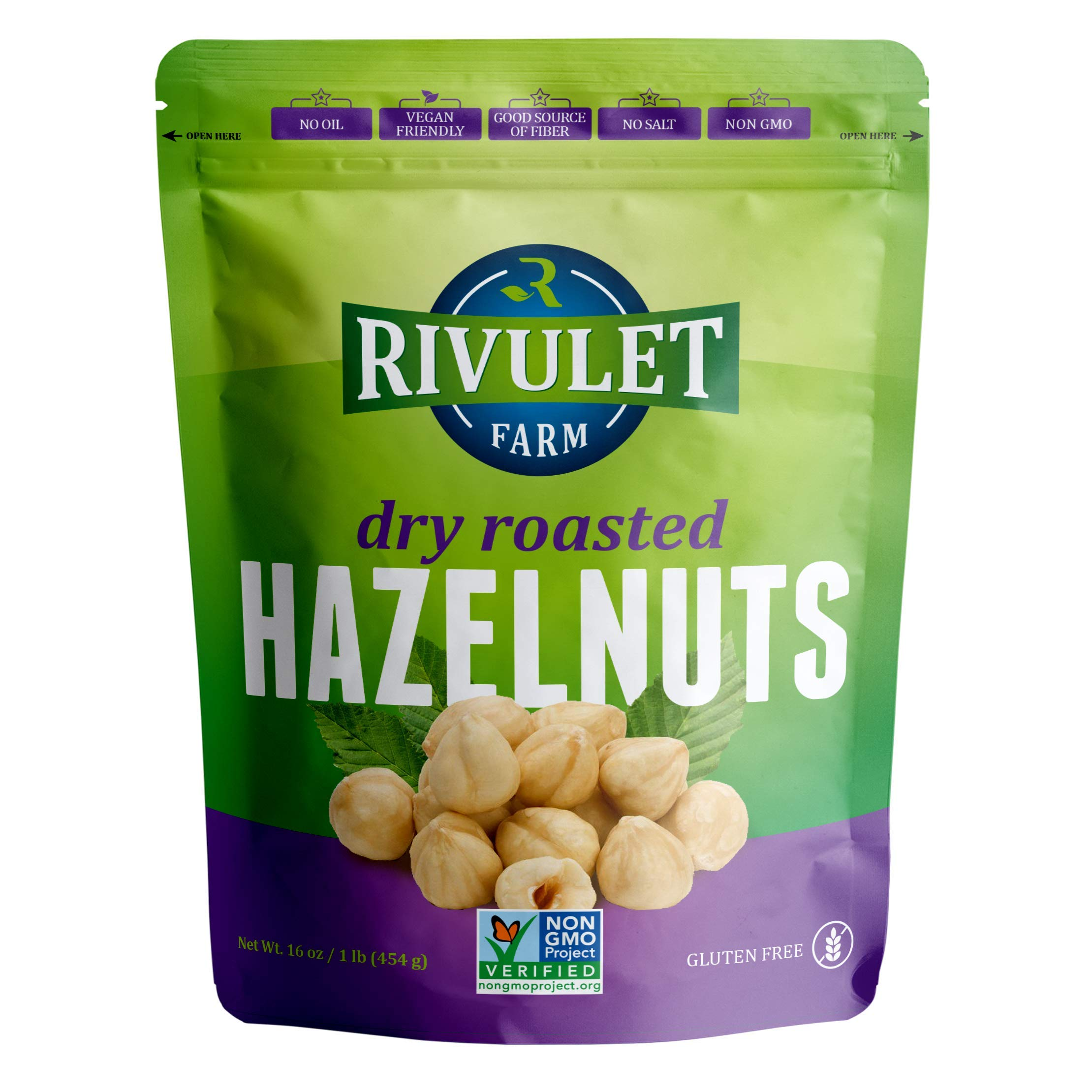 Dry Roasted Hazelnuts by Rivulet Farm - 16oz - Unsalted - Tasty & Snacks for Keto, Paleo, or Vegetarian Diet - Nutritious Non-GMO Toasted Filberts Hazel Nut Snack - Avellanas Tostadas by Rivulet Farm