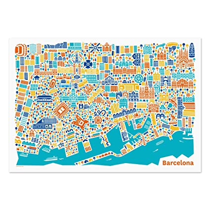 Barcelona Poster city map art print illustration including ...