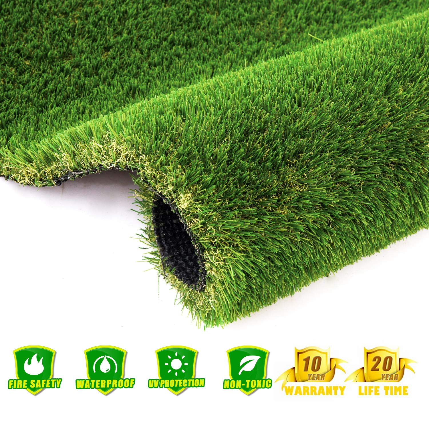 AYOHA 7' x 13' (91 Square ft) Artificial Grass, Realistic Fake Grass Deluxe Synthetic Turf Thick Lawn Pet Turf, Perfect for Carpet Doormat Indoor/Outdoor Landscape, 35mm Pile Height