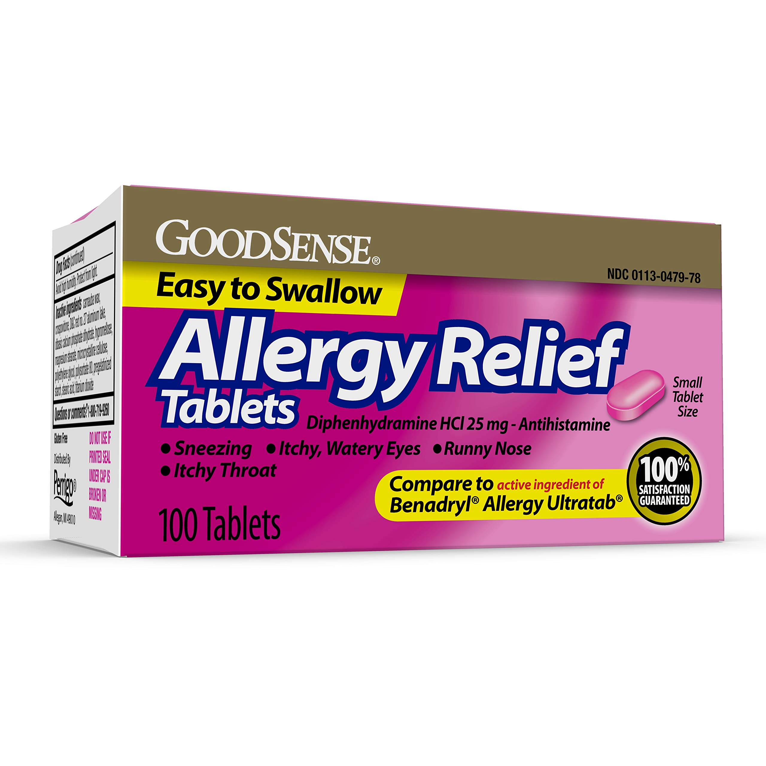 GoodSense Allergy Relief, Diphenhydramine HCl Tablets 25 mg, Antihistamine, 100 Count