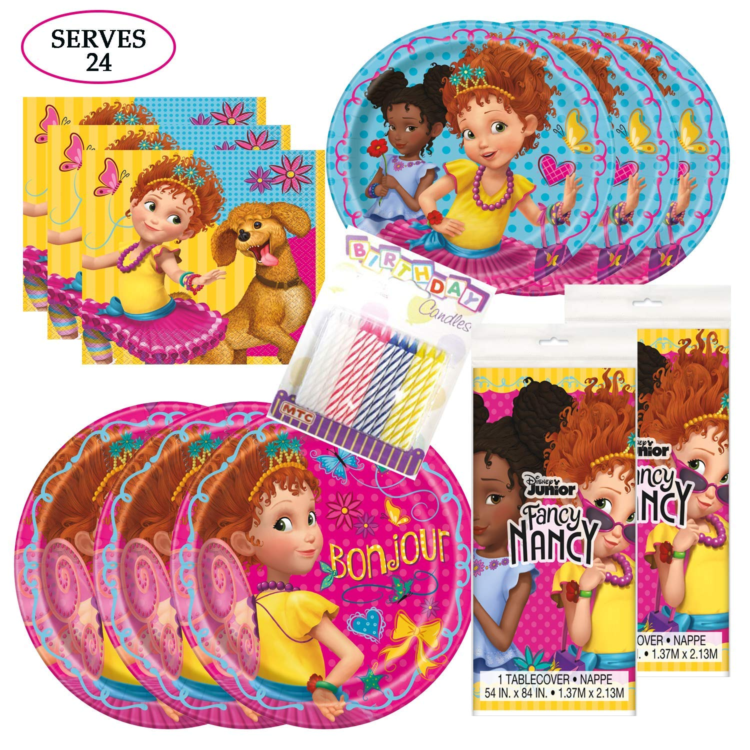 Fancy Nancy Themed Party Pack - Includes 24 9'' and 24 7'' Paper Plates, 48 Luncheon Napkins, 2 Matching Table Cloth, Plus 24 Birthday Candles - Serves 24
