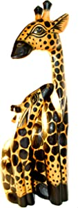 Hand Carved Wooden Set 2 African Mother Baby Giraffe Statue