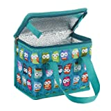 TEAMOOK Lunch Bag Insulated Lunch Box Cool bag Green Owl 6 cans