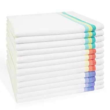 Harringdons Kitchen Dish Towels Set of 12-Tea Towels 100% Cotton. Large Dish Cloths 28 x20  Soft and Absorbent. White with Blue, Green and red Stripes, 4 of Each. There's no Substitute for Quality