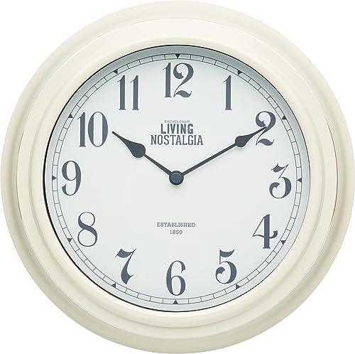 Kitchen Craft Living Nostalgia 25.5 cm Indoor Wall Clock-Antique Cream, 25.5 cm l x 25.5 cm w