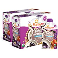 Happy Tot Organics Super Morning Stage 4 Dairy Free Food Pouch, Apple, Acai, Coconut Milk & Oats + Super Chia, 4 Ounces…