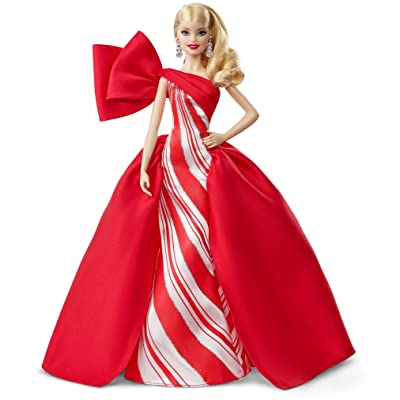 2020 Holiday Barbie Doll, 11.5-Inch, Blonde, Wearing Red and White Gown, with Doll Stand and Certificate of Authenticity: Toys & Games