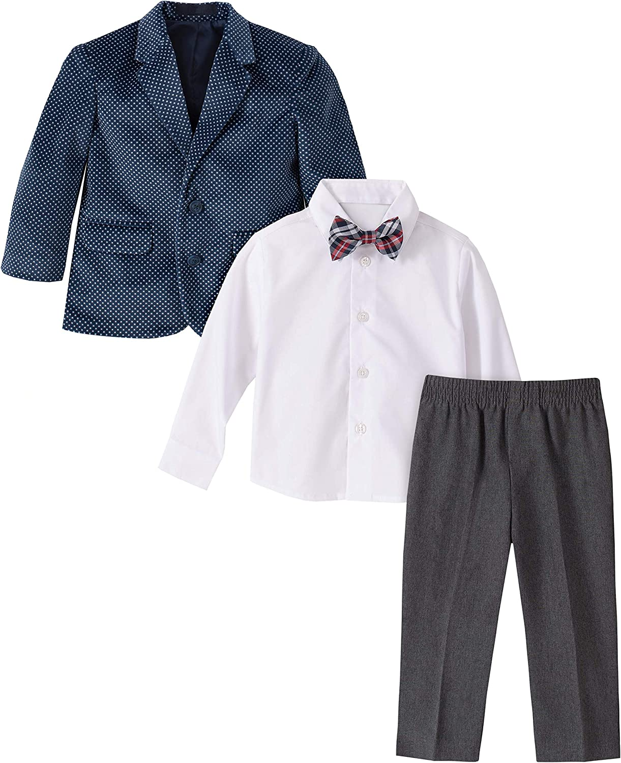 Nautica Baby Boys 4-Piece Suit Set with Dress Shirt and Bow Tie Pants Jacket