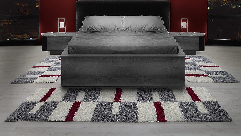 Teppiche Hochflor Shaggy Gestreift Und Karirt Motive Für Wohnzimmer,  Esszimmer. Gästezimmer Mit 3 Cm Florhöhe.