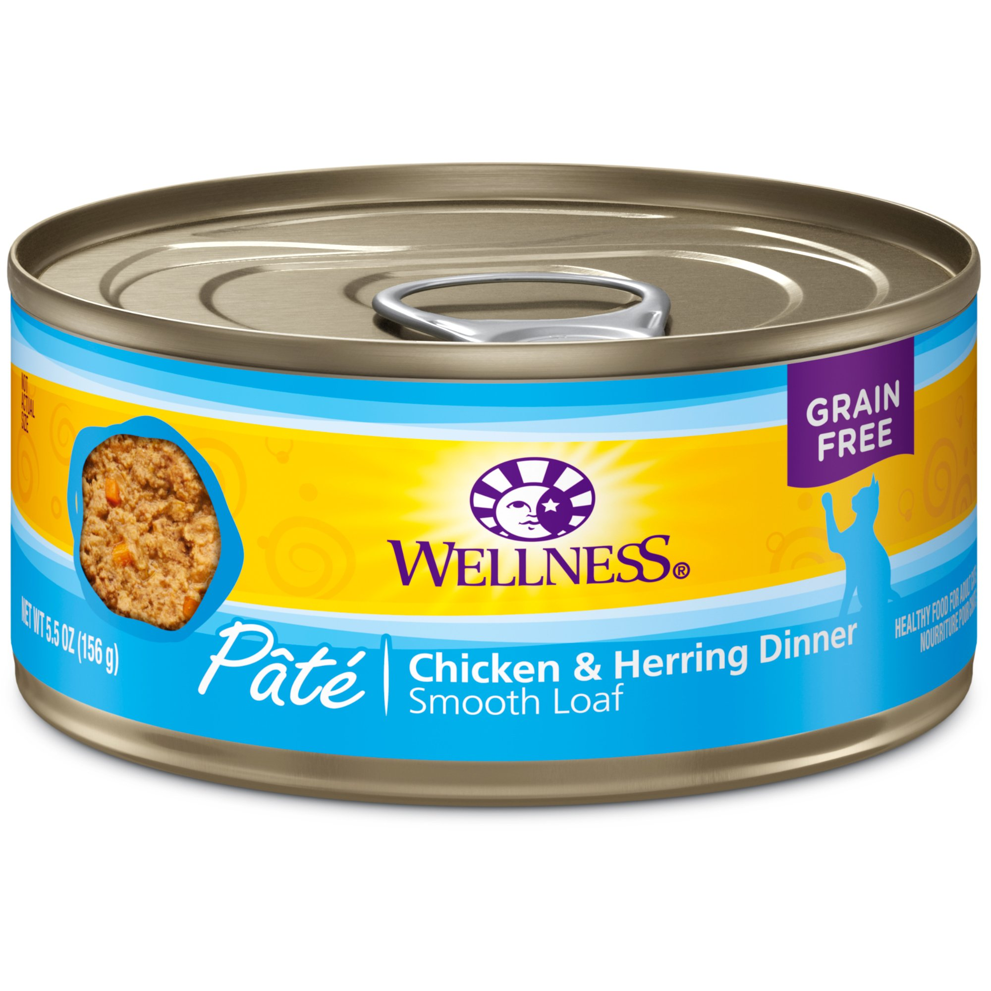 Wellness Natural Grain Free Wet Canned Cat Food, Chicken & Herring Pate, 5.5-Ounce Can (Pack Of 24) by Wellness Natural Pet Food