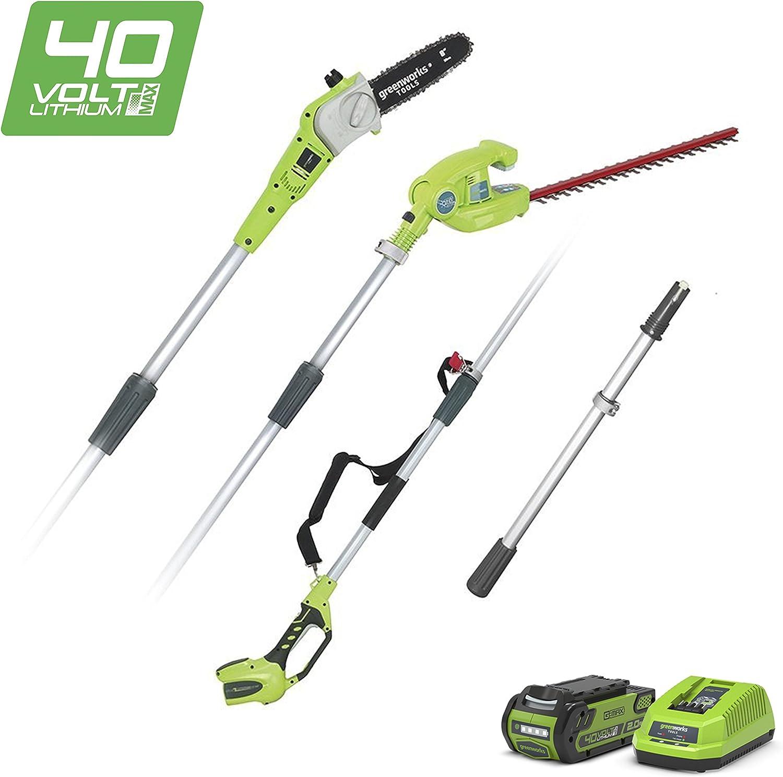 Greenworks G40PSHK2 Podadora de Batería y Cortadora de Setos 2en1, 40 V, Verde, 51cm/20 cm Longitud de Espada, 18mm Grosor de Corte, 2,4 m Poste Telescópico