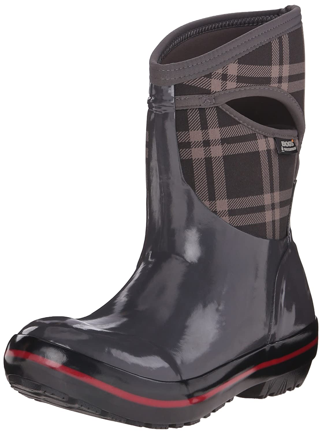 Bogs Women's Plimsoll Plaid Mid Winter Snow Boot B00QMMERIQ 6 B(M) US|Dark Gray