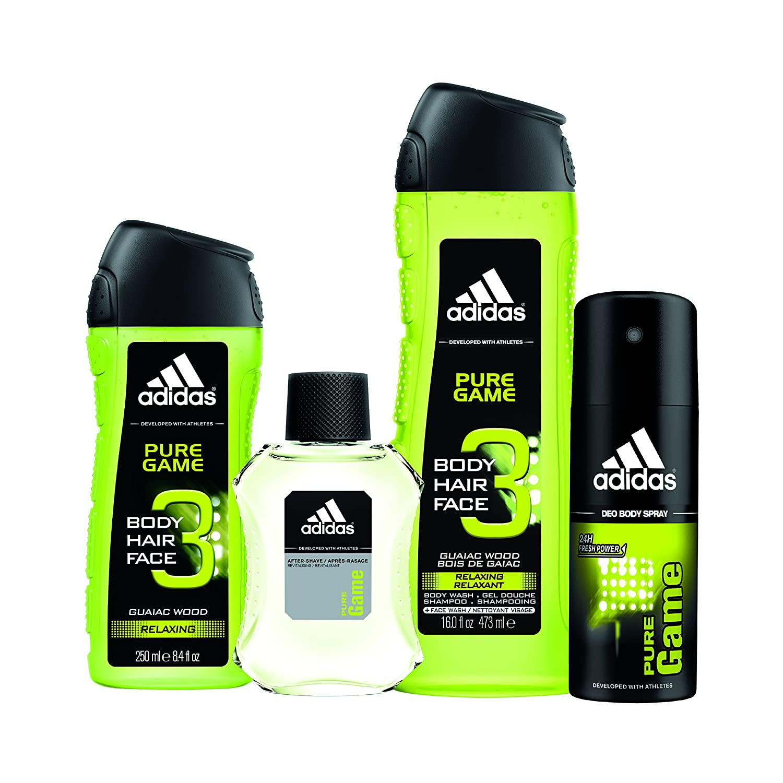 size 40 0437c e63bc Amazon.com   adidas Pure Game 4pc Set - 16.0 oz Body Wash, 8.4 oz Body Wash,  4.0 oz Body Spray, 3.4 oz Aftershave   Beauty