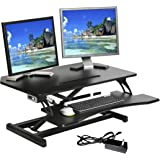 """Seville Classics AIRLIFT OFF65890 Compact 33"""" Electric Height Adjustable Standing Desk with 2.1A USB Charger, Keyboard…"""