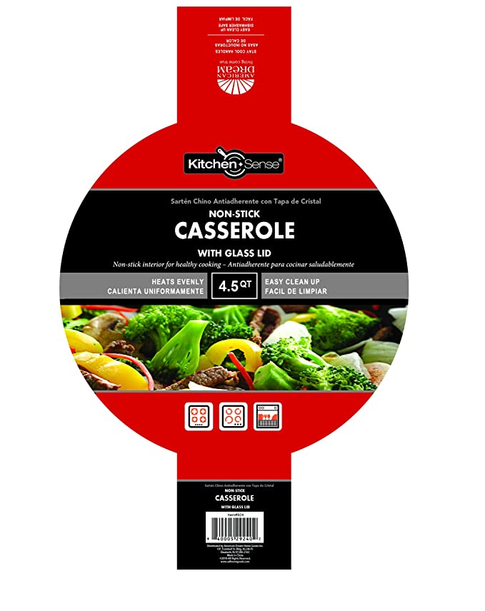 Amazon.com: Kitchen Sense Heavy Duty Non-Stick Casserole Stockpot with Glass Lid: Kitchen & Dining