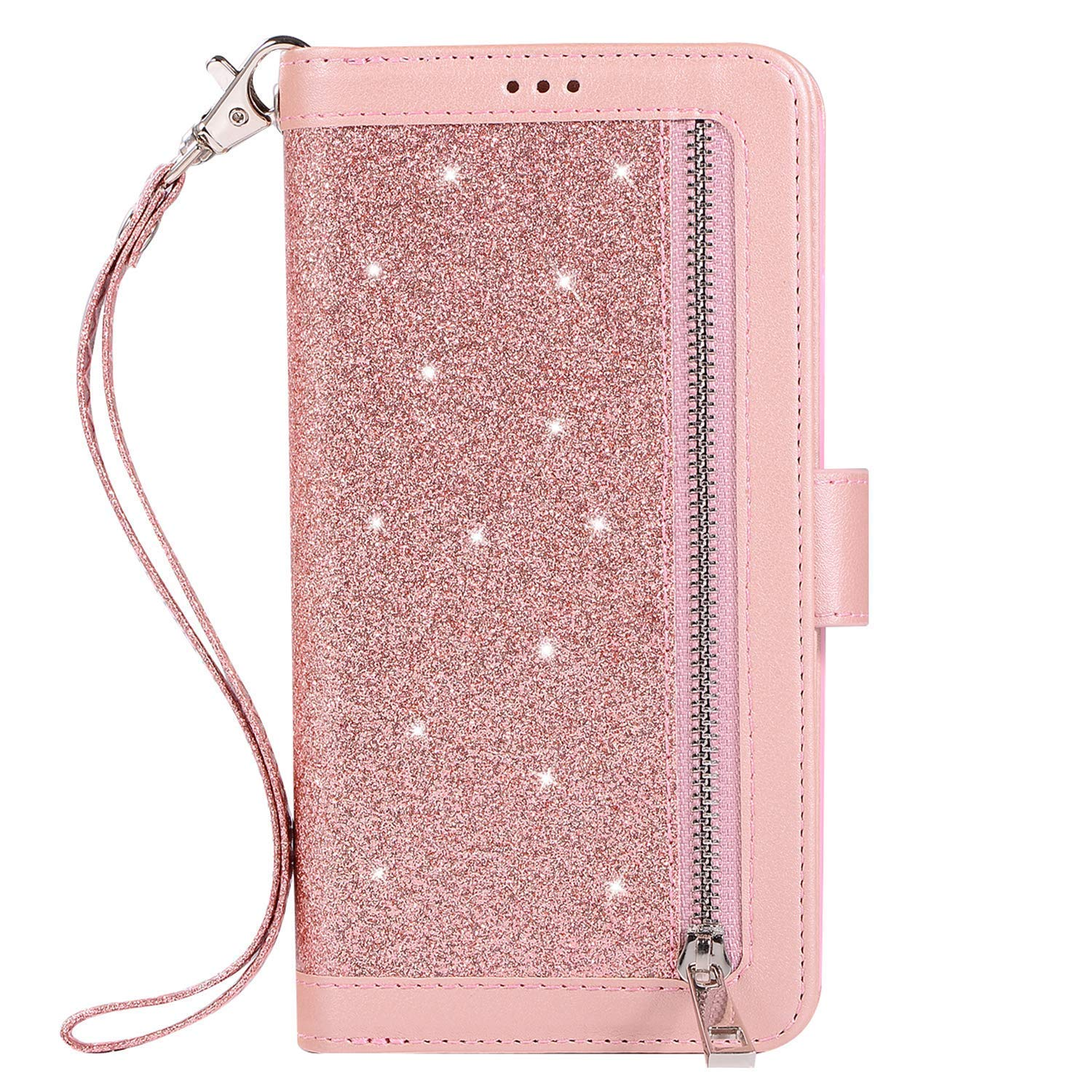 Herbests Compatible with Samsung Galaxy S10 Plus Wallet Case Zipper Luxury Bling Glitter Shockproof Protective Leather Flip Cover 9 Card Slots Magnetic Phone Cover & Strap Kickstand,Rose Gold