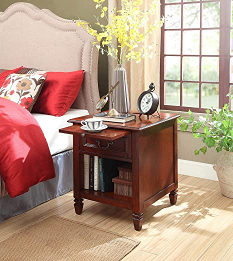 Amazon Com Carlton Nightstand With Charging Station In Espresso