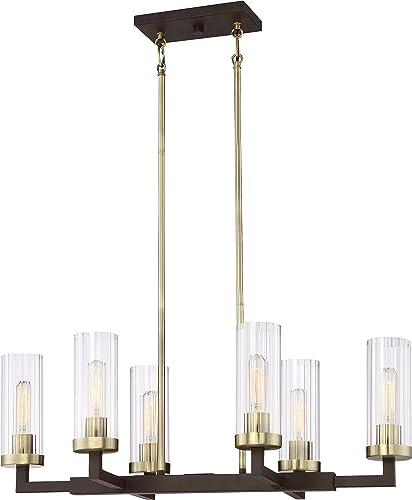 Minka Lavery Island Chandelier Mini Pendant Lighting 3046-560 Ainsley Court Dining Room Fixture, 6-Light 360 Watts, Aged Kinston Bronze