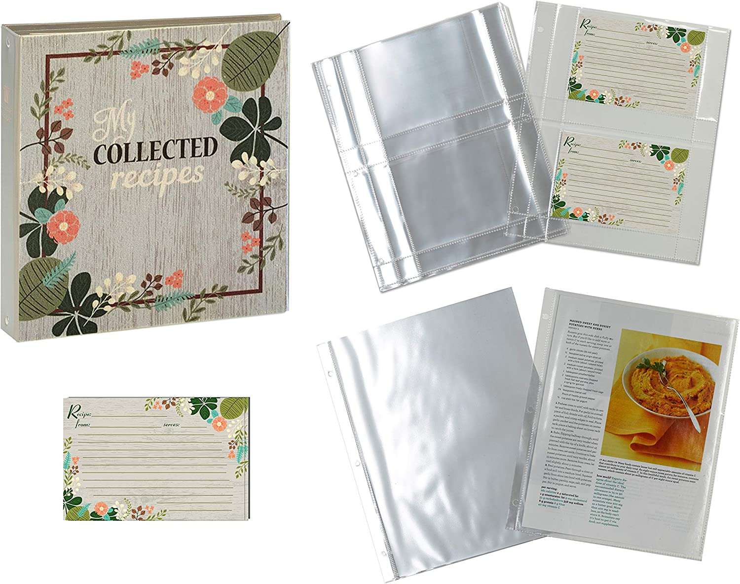 Meadowsweet Kitchens Recipe Binder Organizer Gift Set, Mother's Day, Wedding Gift, Housewarming, Family Recipe Book with Recipe Cards and Plastic Protector Sheets (Vintage Flowers)