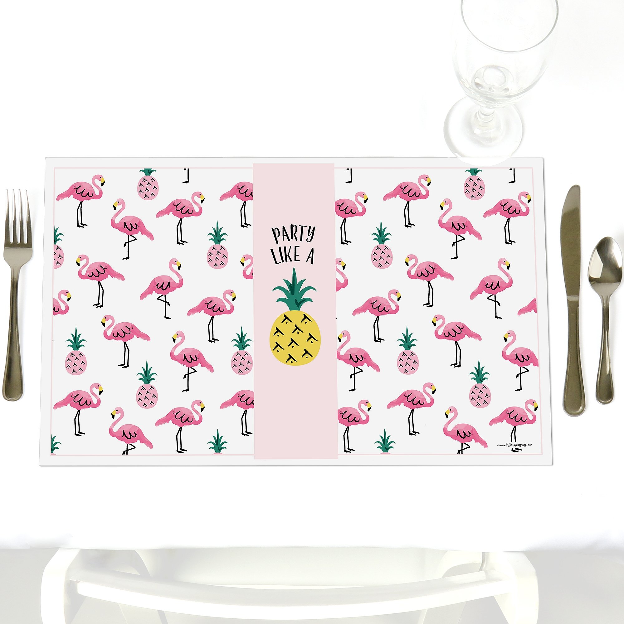 Pink Flamingo - Party Like a Pineapple - Tropical Summer Party Table Decorations - Party Placemats - Set of 12