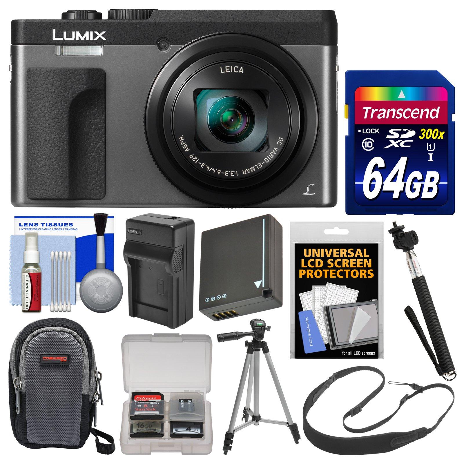 Panasonic Lumix DC-ZS70 4K Wi-Fi Digital Camera (Silver) with 64GB Card + Case + Battery & Charger + Monopod + Tripod + Strap + Cleaning Kit by Panasonic