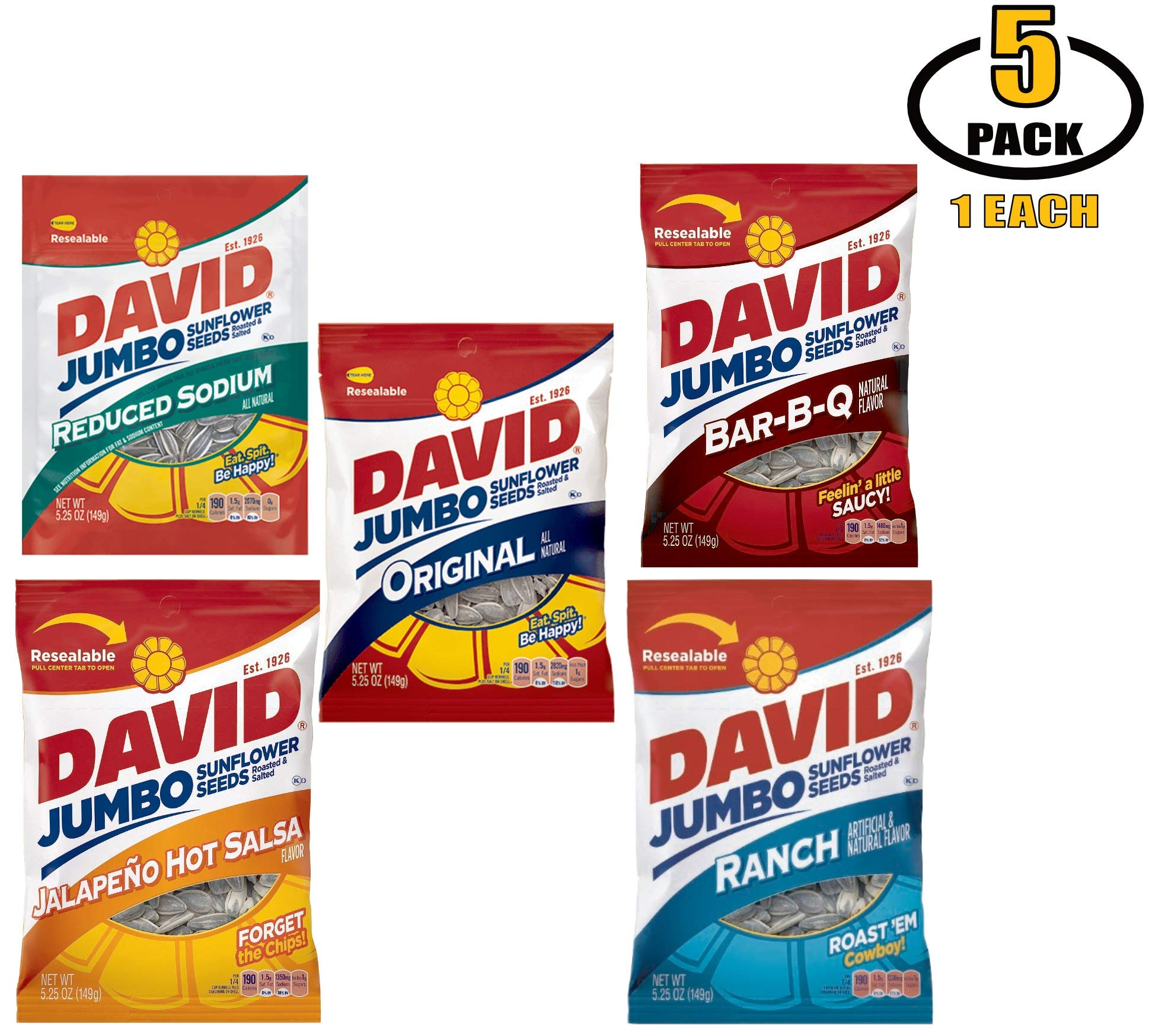 David Jumbo Sunflower Seeds Variety Pack - 5 Flavors of Davids Sun Flower Seeds: Ranch, BBQ, Jalapeno Hot Salsa, Low Salt Reduced Sodium, and Original Flavor - BASED BOX Bundle (5.25oz Bag, Pack of 5)