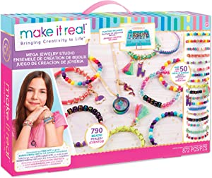 Make It Real - Mega Jewelry Kit - DIY Bead Necklace and Bracelet Making Kit for Tween Girls - Arts and Crafts Kit with Beads and Charms for Unique Jewelry Making - Includes Case