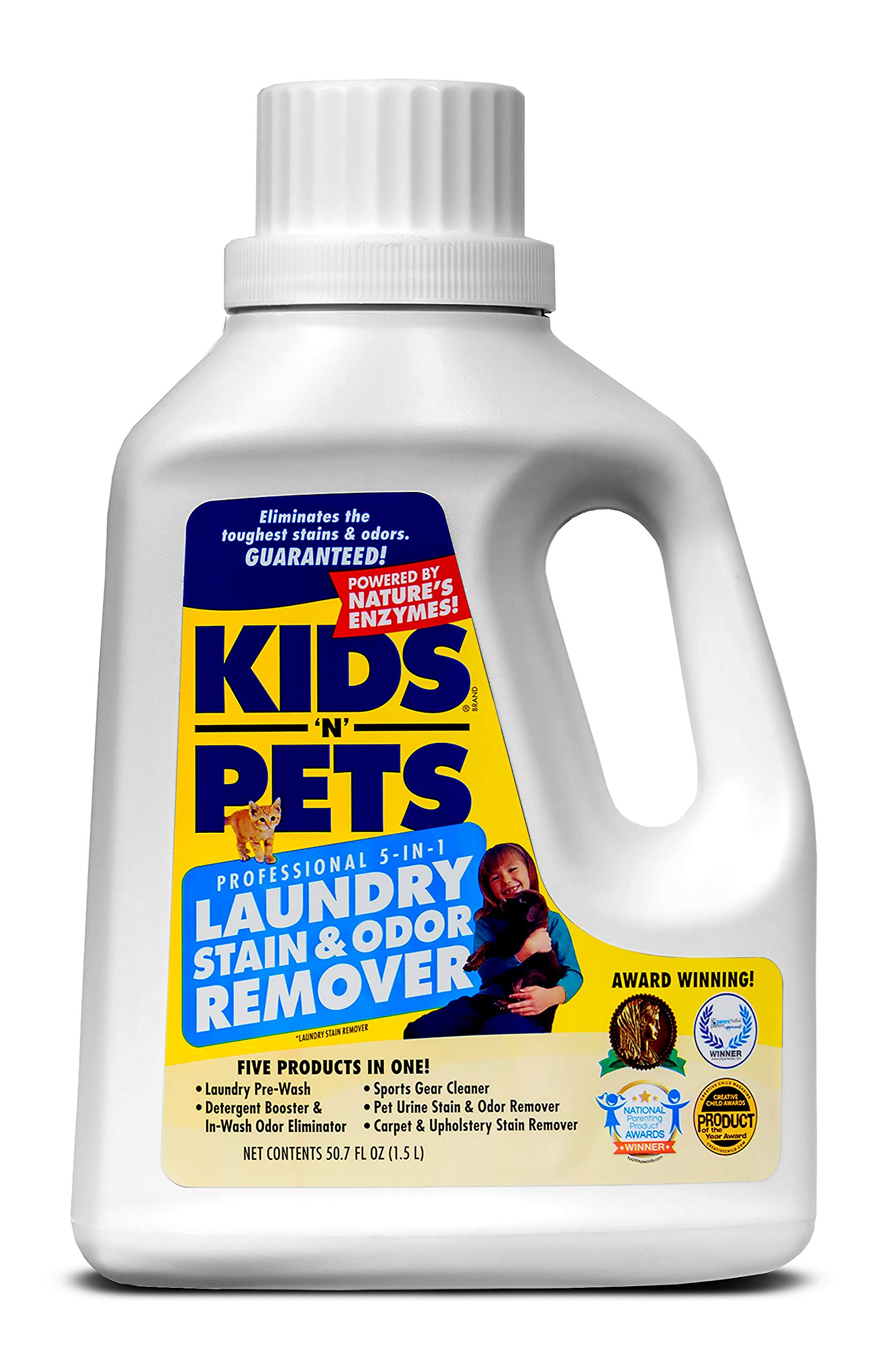 KIDS 'N' PETS - 5-In-1 Laundry Stain & Odor Remover - 50 oz - Professional Strength Formula Eliminates Tough Stains & Odors - No Harsh Chemicals, Non-Toxic & Child Safe